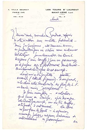 Lettre autographe signée: LUR�AT Jean