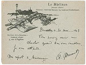 Lettre autographe signée: BRUANT Aristide