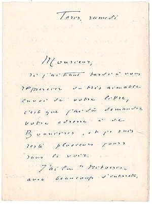 Lettre autographe signée: CHAUSSON Ernest
