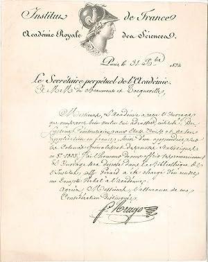 Lettre signée: ARAGO Fran�ois