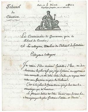 Lettre autographe signée: BIGOT DE PR�AMENEU F�lix Julien Jean