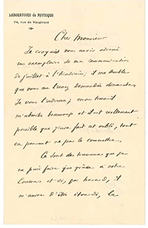 Lettre autographe signée: BRANLY Édouard