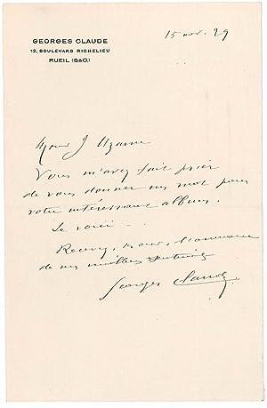 Lettre autographe signée: CLAUDE Georges