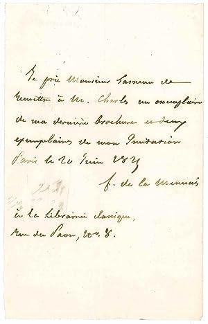 Lettre autographe signée: LAMENNAIS Félicité Robert de