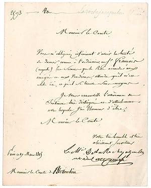 Lettre signée: LA ROCHEJAQUELEIN, Louis du Vergier marquis de