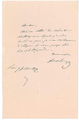 Billet autographe signé: LESSEPS Ferdinand de