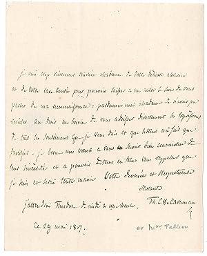 Lettre autographe signée: TALLIEN Thérèse Cabarrus, dite Madame
