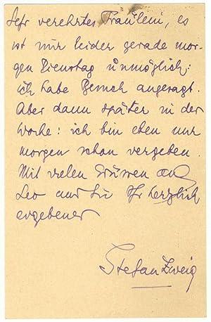 Carte autographe signée: ZWEIG Stefan