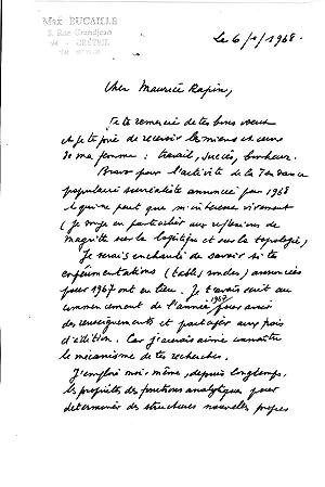 ensemble de 5 lettres autographes signées: BUCAILLE Max