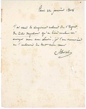 Lettre autographe signée: ABRIAL André Joseph, comte