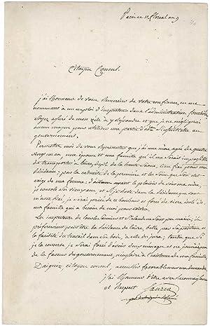 Lettre autographe signée: SAURIAT Jean-Charles