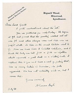 Lettre autographe signée: DOYLE Arthur Conan