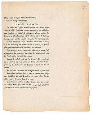 """Manuscrit autographe signé """"Enquoi consiste le travail sur soi?"""": DAUMAL René"""