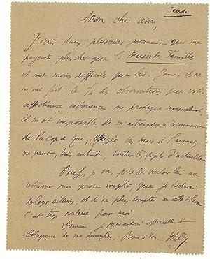 Carte-lettre autographe signée: WILLY, Henry Gauthier-Villars dit