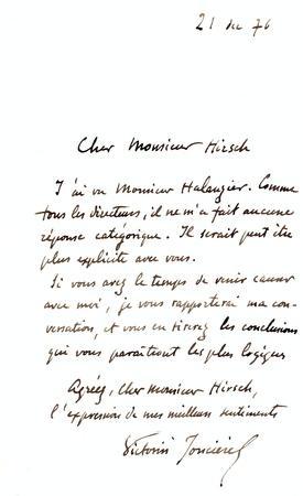 2 Lettres autographes signées.: JONCIÉRES Victorin de, Félix-Ludger Rossignol, dit, (1839-...