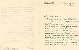 Lettre autographe signée: VIALAR Paul (1898-1996), obtint le prix Fémina en 1939, président ...
