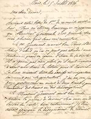 Lettre autographe signée: BARRES Maurice (1862-1923), �crivain, homme politique.
