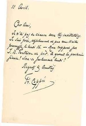 Lettre autographe signée: COPPEE François (1842-1908), poète du mouvement parnassien, ...