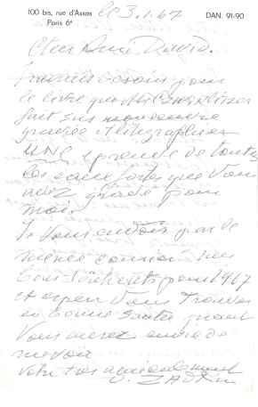 Lettre autographe signée: ZADKINE Ossip (1890-1967)