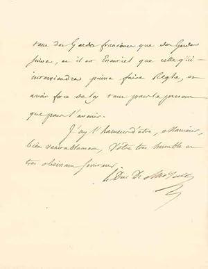 Lettre autographe signée: CHOISEUL Etienne François, duc de (1719-1785)