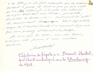 Lettre autographe signée: MARINE - SABORDAGE DE LA FLOTTE A TOULON.
