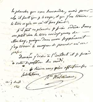 Lettre autographe signée: WALCKENAER Charles Athanase, baron (1771-1852)