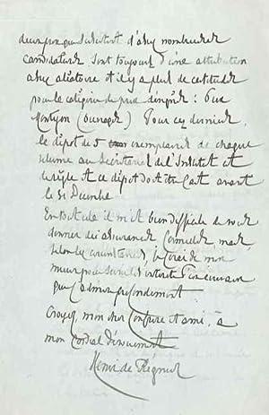 Lettre autographe signée: REGNIER Henri de