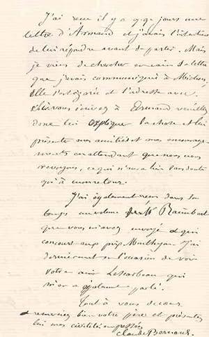 Lettre autographe signée: BERNARD Claude
