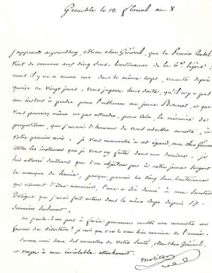 Lettre autographe signée: MOLITOR Gabriel Jean Joseph