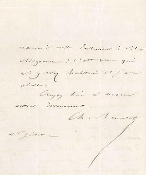Lettre autographe signée: REMUSAT Charles François Marie