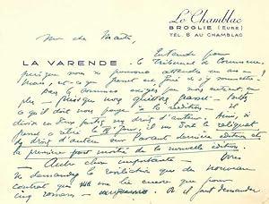 Ensemble de 13 pièces autographes: VARENDE Jean de La