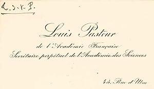 Carte de visite autographe signée: PASTEUR Louis