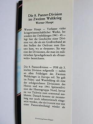 Die 8. Panzer-Division im Zweiten Weltkrieg.: Haupt, Werner: