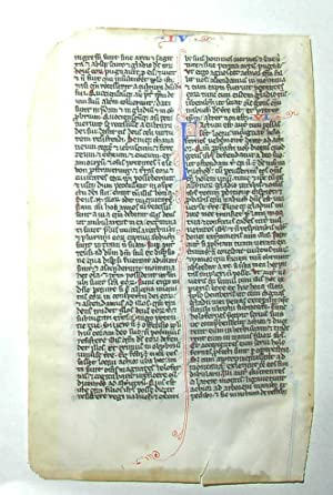 Tiny Medieval Vellum Manuscript leaf: Bible, book of Judith chaps 4-6, ca 1250 France: Bible; ...