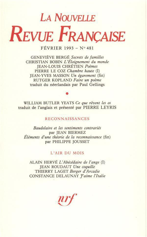 la nouvelle revue francaise N.481 - Février 1993 - Collectif