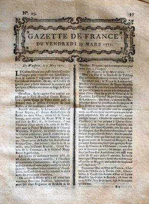 GAZETTE DE FRANCE N? 25 DU 29 03 1771