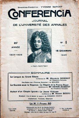 CONFERENCIA N° 1 DU 15 12 1925