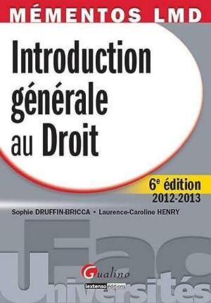 introduction générale au droit (6e éditon): Collectif
