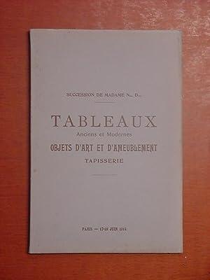 Catalogue des Tableaux anciens et modernes, Dessins,: collection Madame N.