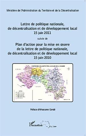 lettre de politique nationale, de décentralisation et de développement local, 15 juin...