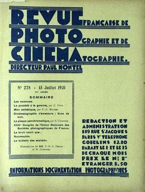 REVUE PHOTO CINEMA N° 278 DU 15