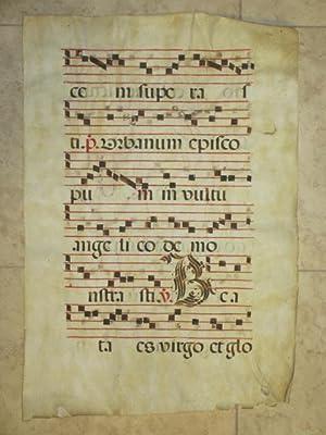 Manuscript Antiphonal Leaf on Vellum, Early 17th: Illuminated Manuscript