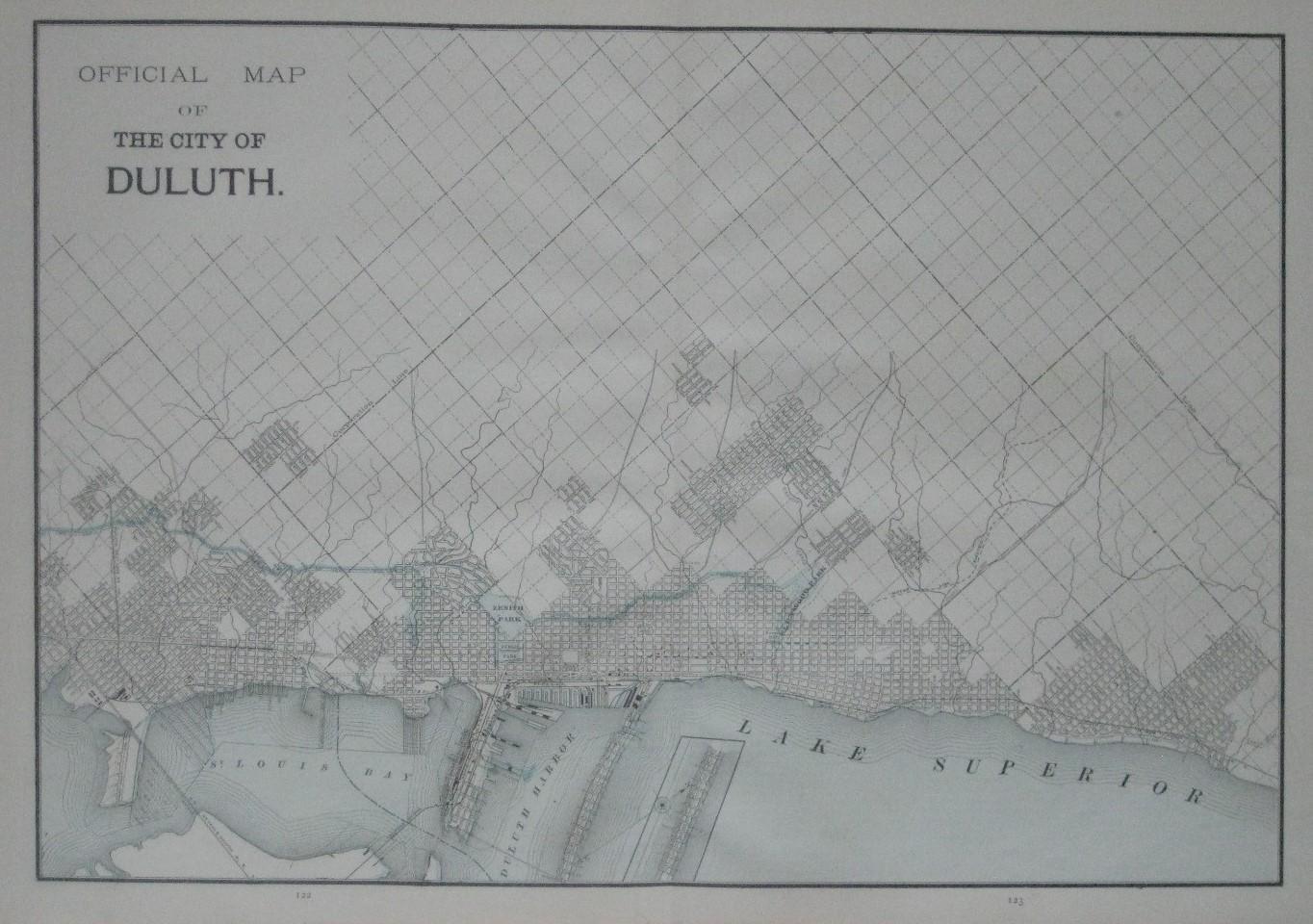 Original 1893 Map DULUTH Minnesota Streetcar
