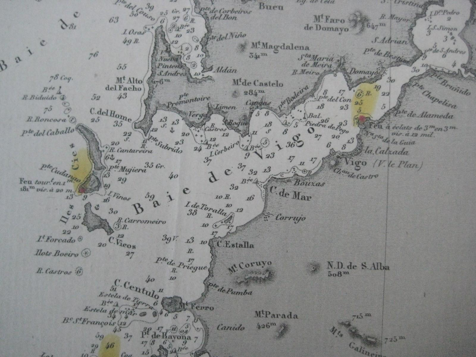 Map Of North West Spain.Original 1871 Nautical Map Northwest Spain