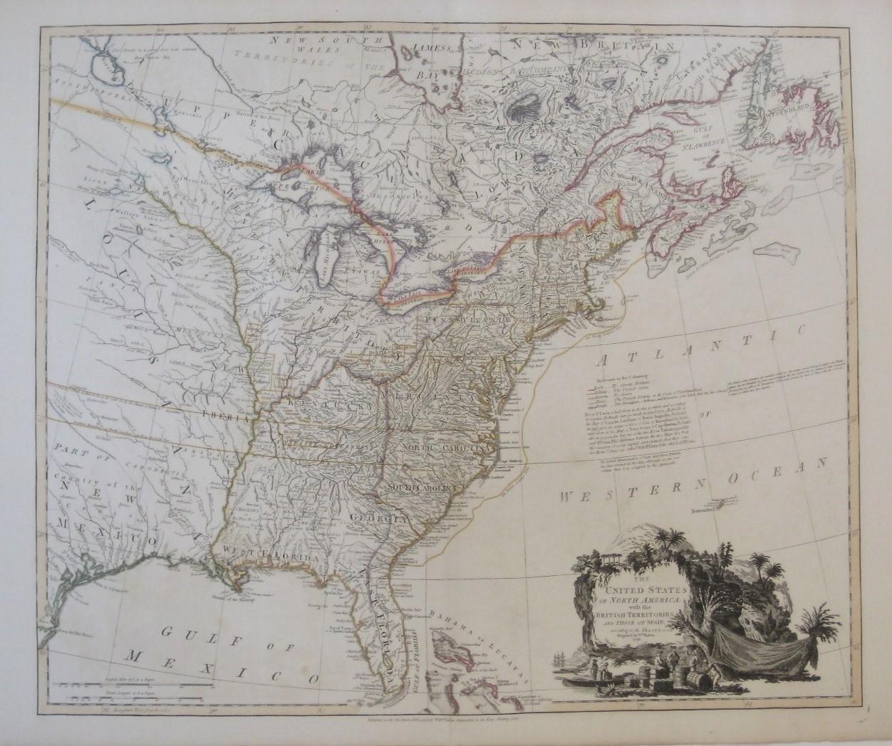 Original 1796 William Faden Map US State of ...