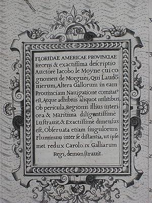 Floridae Americae Provinciae Recens & Exactissima Descriptio.: Jacques Le Moyne