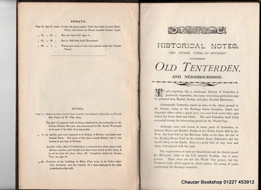 NOTES ON OLD TENTERDEN AND THE FOUR CHURCHES: MACE, J Ellis