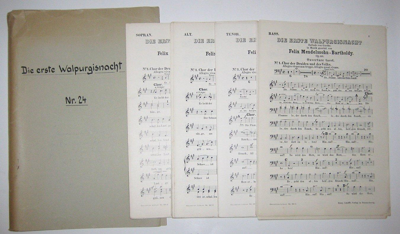 Private Sammelmappe: Die erste Walpurgisnacht. Ballade von: Mendelssohn-Bartholdy, Felix und