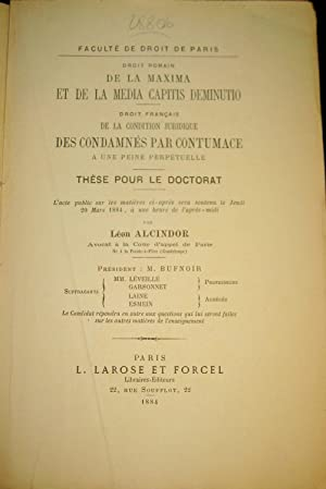 Droit romain. De la maxima et de la media capitis deminutio. Droit français de la condition ...
