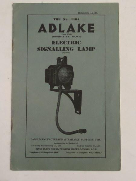 The No 1184 Adlake Electric Signalling Lamp: n/a